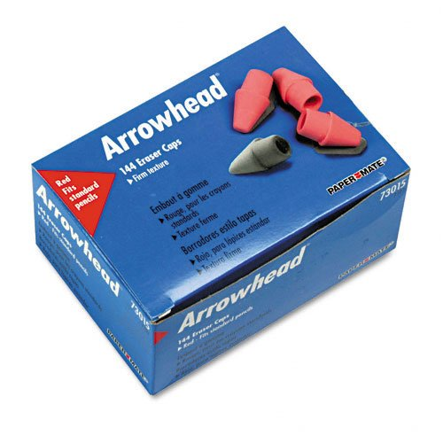 Paper Mate : Arrowhead Eraser Caps, 144 per Box -:- Sold as 2 Packs of - 144 - / - Total of 288 Each Arrowhead Pencil Cap Erasers