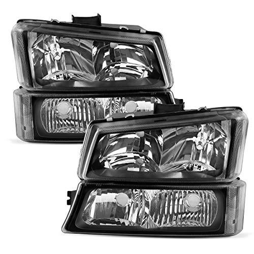 For 2003-2006 Chevy Silverado Headlights, 1500 2500 3500 Pickup & 2003-2006 Chevrolet Avalanche 1500 2500 & 2007 Silverado 1500/HD 2500/HD 3500 OEDRO 4-Dr / 2-Dr Blk Housing Headlamps, 2-Yr Warranty