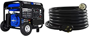 DuroMax New XP12000E Generator, Blue & Conntek 1450SS2-15 50 Amp Temp Power Generator Cord, 15 Feet, Black