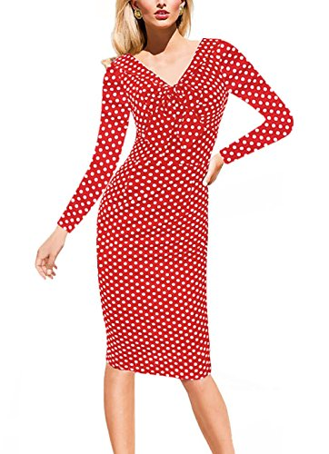 Women's 1950's Vintage Casual V Neck Dot Print Wear to Work office Career Sheath Dress 034 Red L