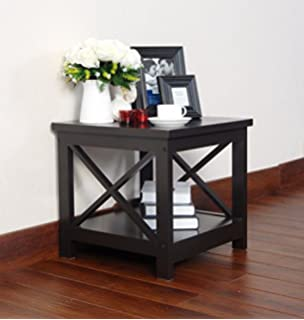 Espresso Finish Wooden Square Chair Side End Table With Shelf By EHomeProducts