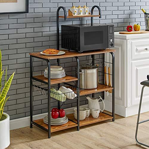 Mr IRONSTONE Vintage Kitchen Baker's Rack Utility Storage Shelf 35.5'' Microwave Stand 4-Tier+3-Tier Shelf for Spice Rack Organizer Workstation with 10 Hooks by Mr IRONSTONE (Image #1)