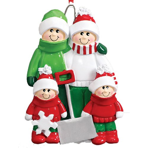Personalized Name Ornament (Personalized Snow Shovel Family of 4 Christmas Ornament for Tree 2018 - Cute Parents Children in Green Winter Clothes hold Spade - Tradition Hug Gift Kids Shoveling - Free Customization (Four))