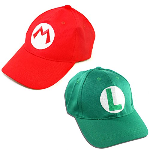 2 Mario Bros Hats - Baseball Caps for Kids - Perfect for Cosplays and Halloween -