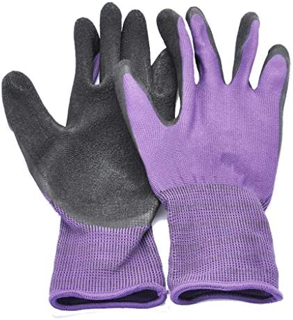 HAPzfsp 手袋 (パープル、2ペア)ナイロンラテックスリンクルコーティング作業用手袋、工業用手袋、ニットリストカフ、保護用、フレキシブル グローブ保護手袋、仕事、農場
