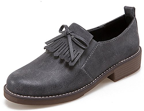 Gray Top IDIFU Slip Shoes Heels On Oxfords Tasseled Vintage Women's Chunky Low Low Fringes Brogues xqx6pFwv