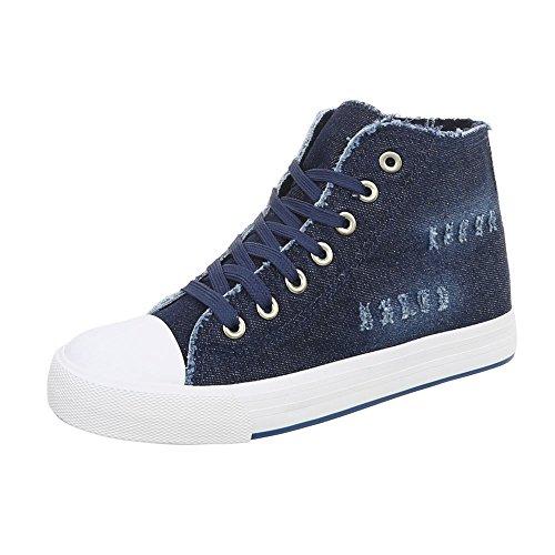 Sneakers R15 Ital Damenschuhe High Dunkelblau Freizeitschuhe Schnürsenkel Design TSB4qnS7