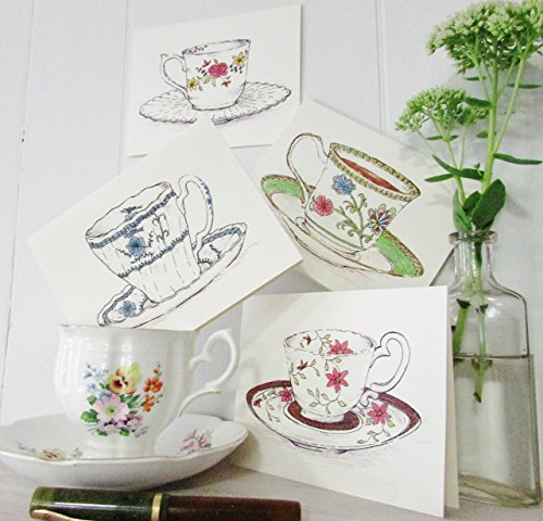 Tea Cup Note Cards Blank Set of 4 Assorted Tea Cups Tea Party Invitations Thank You Notes Teacher Gift Birthday Gift Get Well
