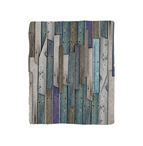 VROSELV Custom Blanket Wooden Blue Grey Grunge Rustic Planks Barn House Wood and Nails Lodge Hardwood Graphic Print Soft Fleece Throw Blanket Teal Purple (Plank Park Lift)