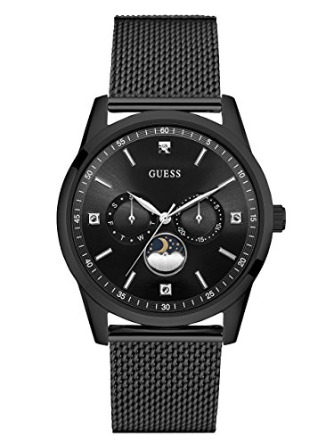 Guess Mens Black Ion Plated - GUESS Men's Stainless Steel Mesh Dress Watch, Color: Black (Model: U0869G1)