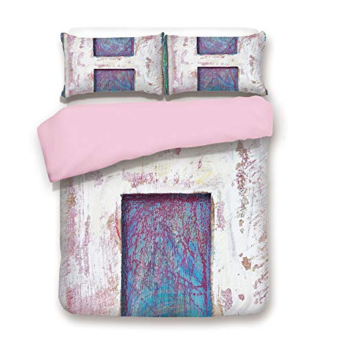 (Pink Duvet Cover Set,Queen Size,H with Grungy Texture Timber Wooden Typeset ABC Character Old Damaged Block Image Decorative,Decorative 3 Piece Bedding Set with 2 Pillow Sham,Best Gift For Girls Women)