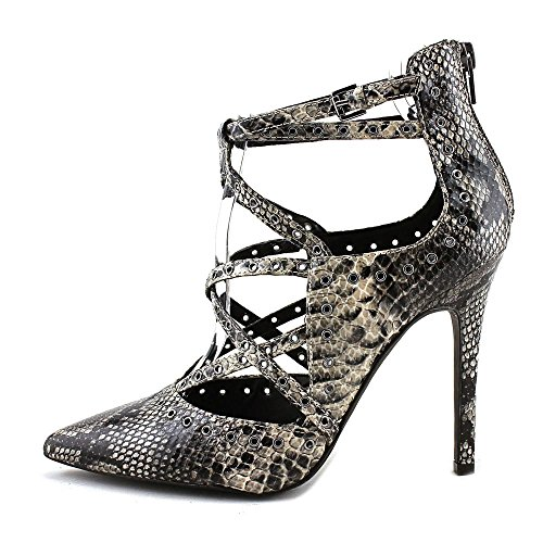 G by GUESS Womens Farrell Pointed Toe Ankle Wrap Classic Pumps Taupe Snake Aoc1jbKENs