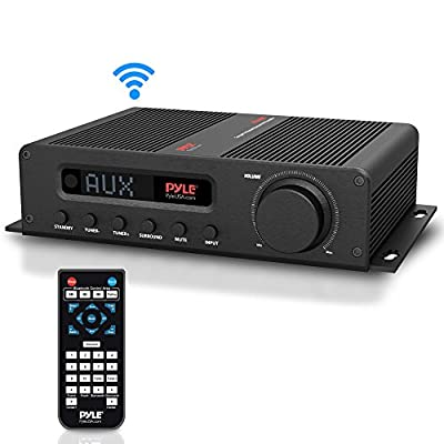 Wireless Bluetooth Home Audio Amplifier - 100W 5 Channel Home Theater Power Stereo Receiver, Surround Sound w/HDMI, AUX, FM Antenna, Subwoofer Speaker Input, 12V Adapter - Pyle PFA540BT
