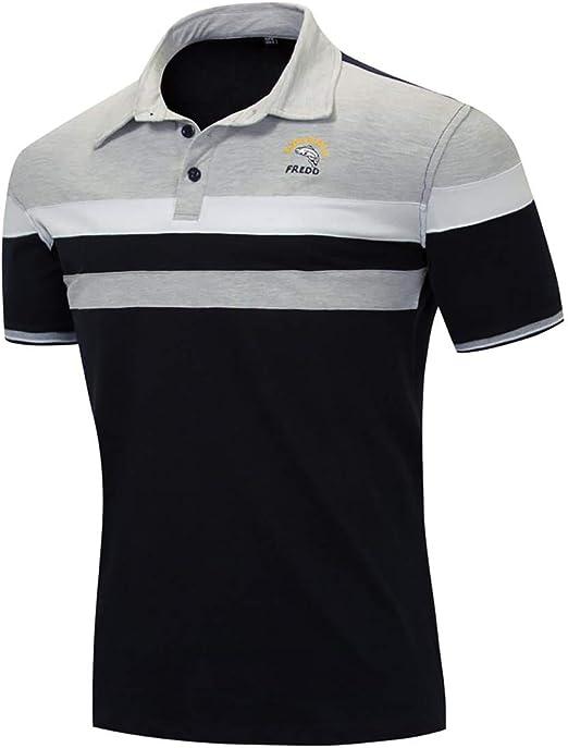 W&TT Camisas de Polo a Rayas de algodón para Hombre Camisetas de ...