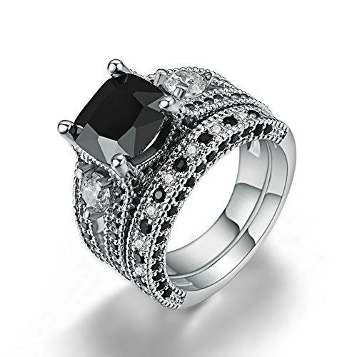 FENDINA Womens Luxurious 18K White Gold Plated Wedding Engagement Rings Princess Cut 2.5ct Created Black Diamond Solitaire Anniversary Promise Rings Set