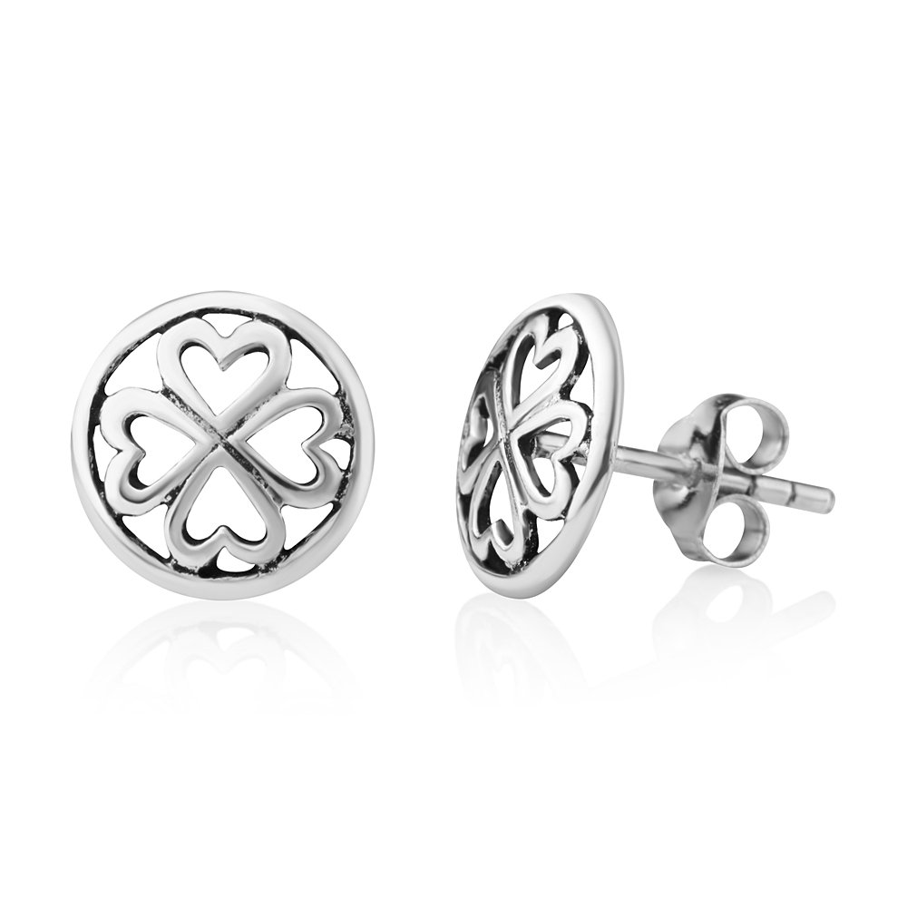 bee0b1c22 Amazon.com: 925 Sterling Silver Tiny Little Lucky Four Leaf Clover Heart  Shaped Post Stud Earrings 10 mm: Jewelry