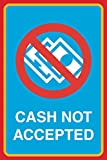 Cash Not Accepted Print No Money Picture Business Office Window Cashier Sign Aluminum Metal