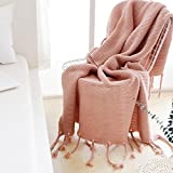 Girls Fringe Crochet Knit Throw Blanket,Pink Cozy Soft Knitted Throw Sofa/Bed/Couch Cover (Pink)