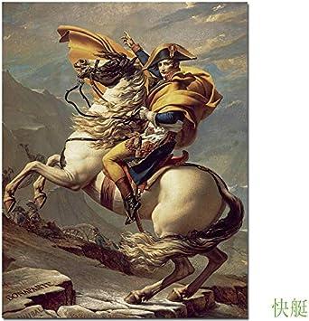 baodanla Pintura al óleo sin Marco Quadros De Parede Cuadros Micro Spray para copiar el clásico Famoso Ng Napoleón cruzando los Alpes Pic60x90cm