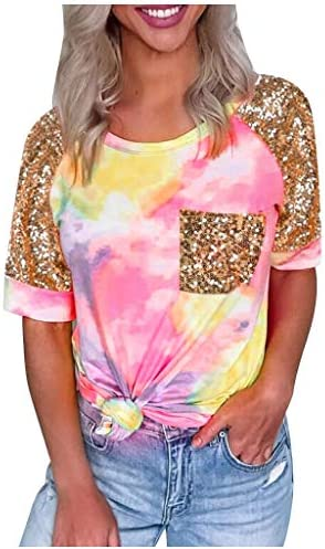 Memela Women`s Casual Shirts Tops Summer Fashion Tie-Dye Splicing Blouses Sequined Pocket Short Sleeve Pullover Tee T-Shirt