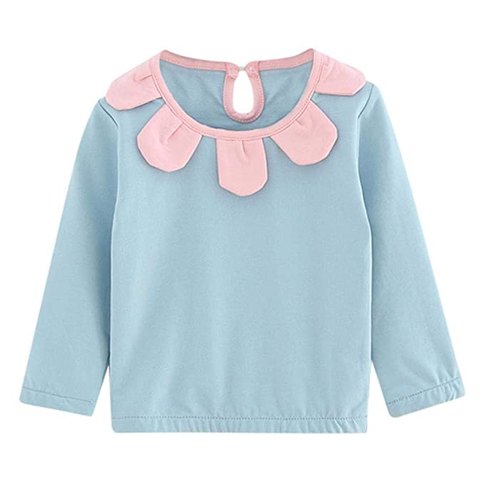 63ebfe681 Zerototens Baby Girls T-Shirt,1-5 Years Old Toddler Kid Long Sleeve  Crewneck Flowers Ruffle Pullover Blouse Tops Children Basic Tee Casual  Outfit: ...