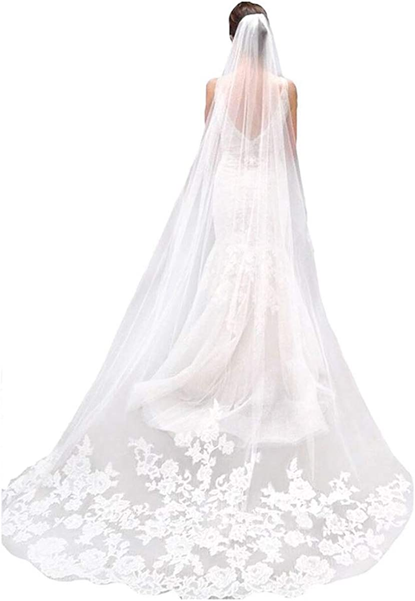 CanB Wedding Veil Bridal Cathedral Veil Flower Lace Veil 1 Tier Ivory Veil with Comb for Brides, 118 inches(300cm)