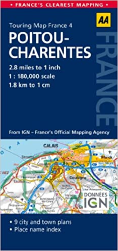 Poitou France Map.Road Map Poitou Charentes Road Map France Aa Publishing