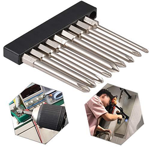 HOEN 9Pcs 1/4 Inch Hex Shank Magnetic Phillips Cross Screwdriver Bits 75mm ()