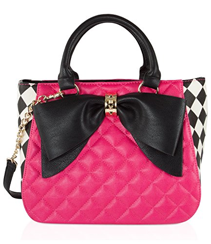 Betsey Johnson Quilted Dome Tote With Pouch (2 Piece Set) - Fushia Br24375