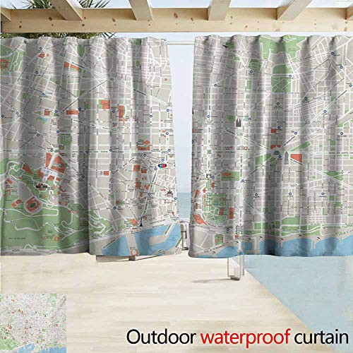 AndyTours Exterior/Outside Curtains,Map Map of Barcelona City Streets Parks Subdistricts Points of Interests,Rod Pocket Energy Efficient Thermal Insulated,W72x72L Inches,Beige Lime Green Pale Blue