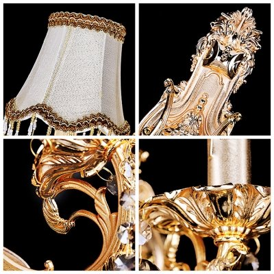 fei Luxury Two Light Wall Sconce Features Beige Fabric Bell Shades Trimmed with Tassels by fei Crystal light (Image #3)