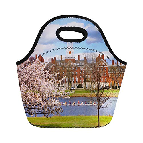 Semtomn Lunch Bags Boston Red University Harvard in the Spring Blue Campus Neoprene Lunch Bag Lunchbox Tote Bag Portable Picnic Bag Cooler Bag