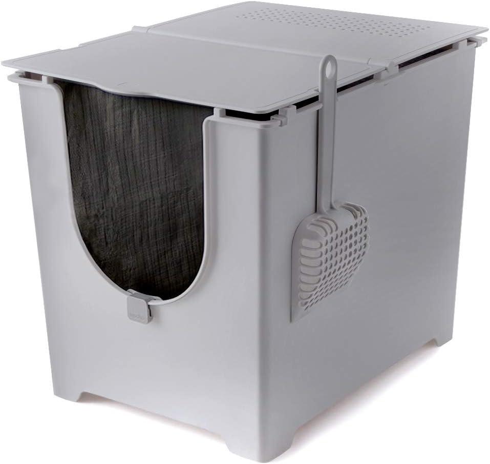 ModKat El kit de caja de arena con tapa incluye pala y forro de lona reutilizable, color gris