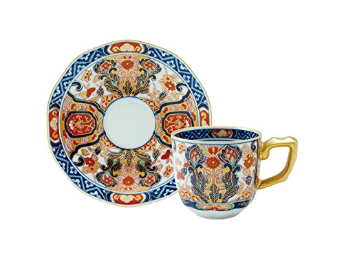 Cup and Saucer with wooden box Gold chinese brocade pattern 45027230, Asian, Oriental, Japanese dish plates Traditional Collection/Yamashita Craft