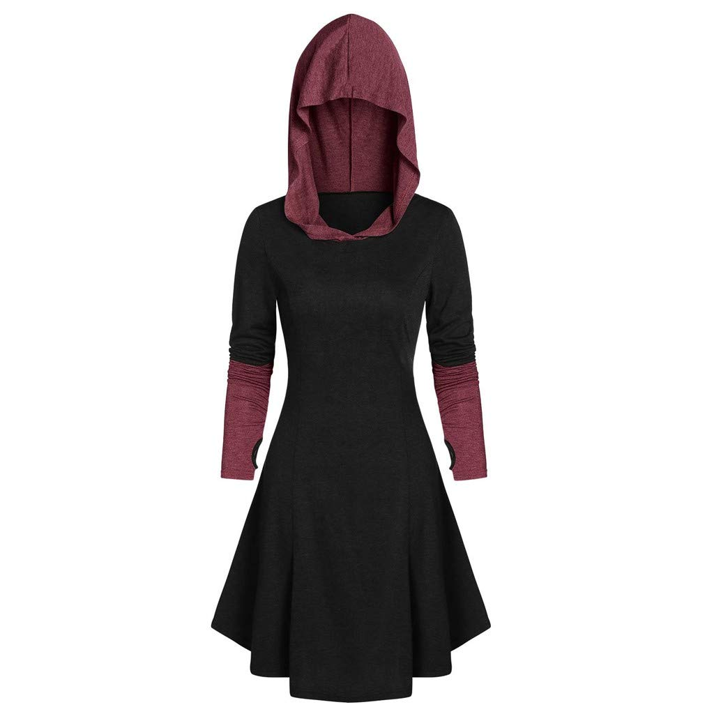 TUU Women's Tops Women's Vintage Cloak Plus Size Long Hooded Long Sleeve Lace-up Tops Wine by TUU-Fashion Shirt