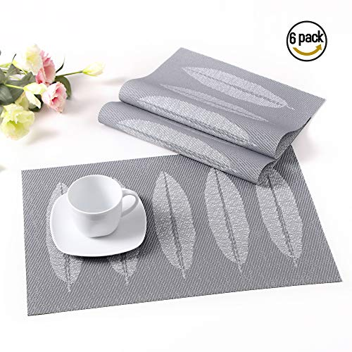 LOVECASA Placemat Vinyl Woven Place Mats Table Mats Non-Slip Insulation Mats with Big Leaves Pattern Washable Non-Slip 18