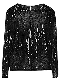 Women's Sequin Beaded See Through Blouse