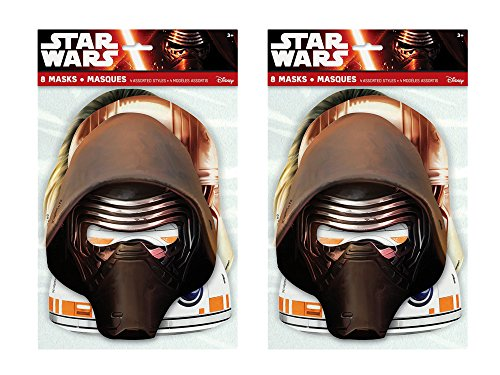 2 Pack of 8 Unique Star Wars Episode VII Party Masks bundled by Maven (Fun World Costumes Canada)