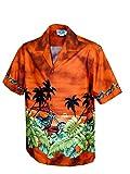 Pacific Legend Mens Motorcycle Hawaiian Sunset Shirt Rust XL