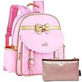 kilofly Girls PU Leather Padded School Bag Travel Backpack + Zippered Pouch Set