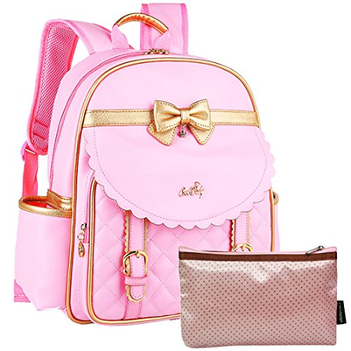 kilofly Girls PU Leather Padded School Bag Travel Backpack + Zippered Pouch Set by kilofly