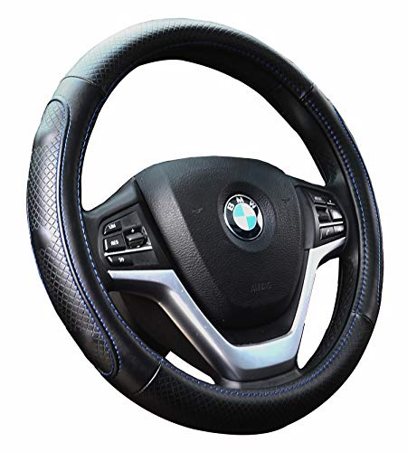 Steering Wheel Covers with Genuine Leather Universal 15 inch for Car Truck SUV (Black with Gray Lines)