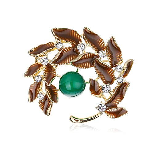 JENIGH JEWEL Brooch Pins for Women - Flower Jade Brooches with Gemstone Sparkly Crystal Gold Brooch Elegant Broaches and Pins Safety Great for Wedding and Business Occasions ()