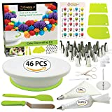 Cake Decorating Supplies Kit with Cake Turntable - Baking kit - Silicone Offset Spatula - Pastry Bags - Icing Tips - Cupcake Decorating Kit with Easy Nozzle Set - Professional Tools for Beginners