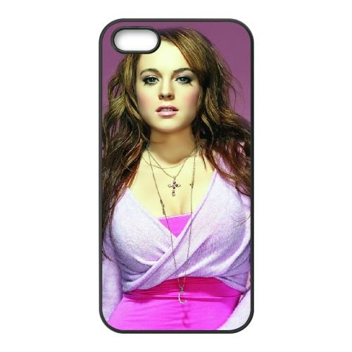 Lindsay Lohan In Pink coque iPhone 5 5S cellulaire cas coque de téléphone cas téléphone cellulaire noir couvercle EOKXLLNCD25552