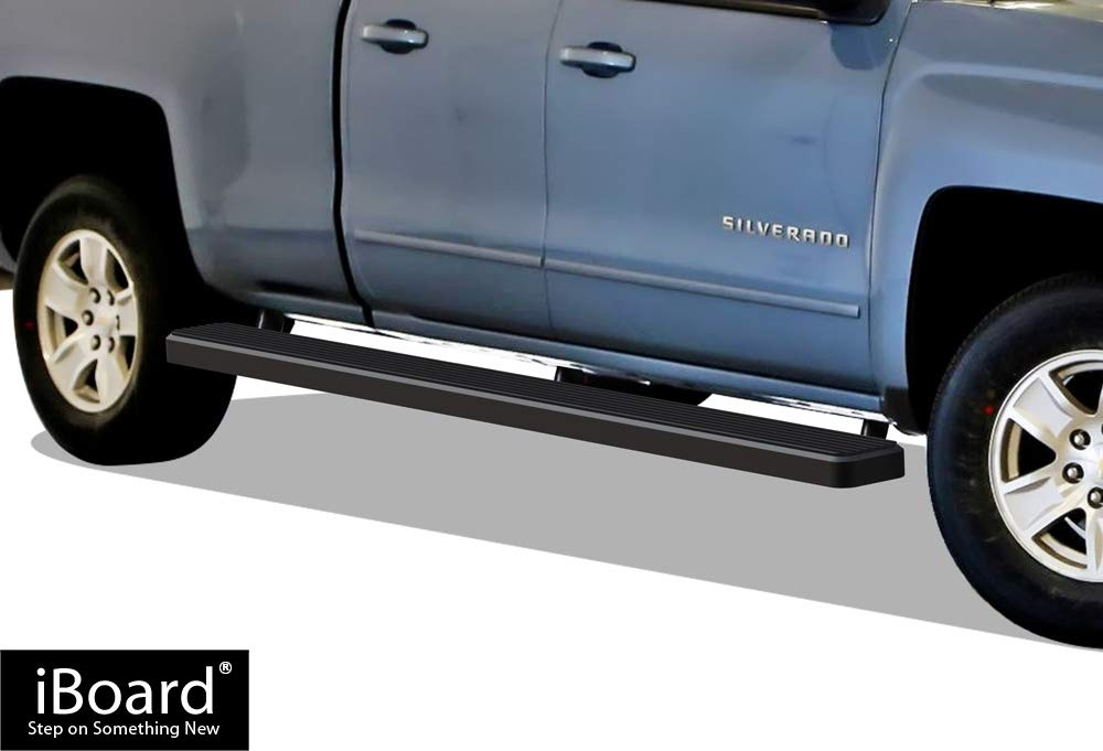 iBoard (Black Powder Coated 6 inches Wheet to Wheel) Running Boards | Nerf Bars | Side Steps For 2007-2018 Chevy Silverado GMC Sierra Double Cab / Extended Cab 5.5ft Short Bed & 2019 2500 HD / 3500 HD