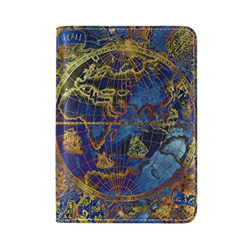 Vintage Blue World Map Genuine Leather Travel Passport Cover Holder Case Protector