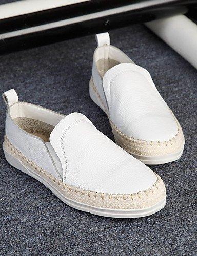 Chiusa ShangYi pelle Punta Comoda arrotondata Scarpe Casual Piatto Donna Bianco Di White Mocassini Nero FwFaq0SA