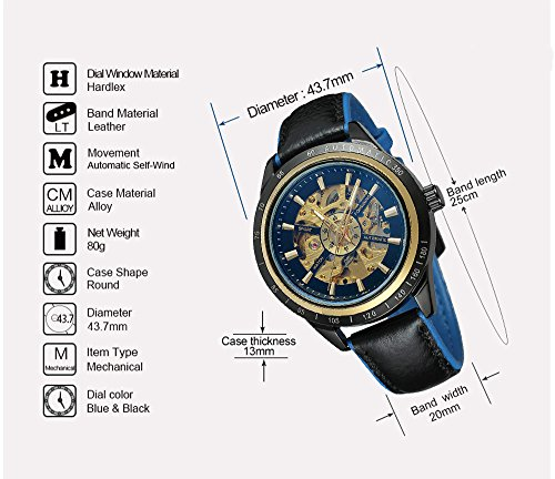 a361257d7 Carrie Hughes Men Black Steampunk Automatic Mechanical Skeleton Discolored  Glass Waterproof Leather Watch