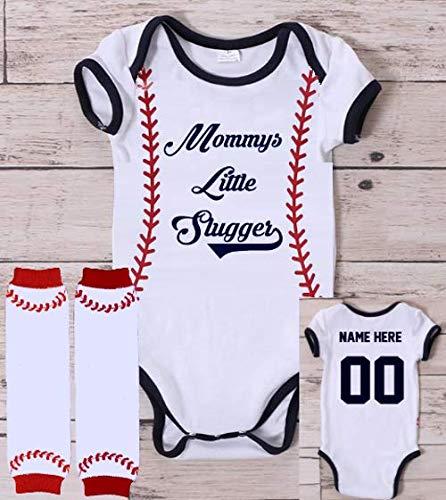 Personalized Mommys Little Slugger Baseball Onesie Shirt